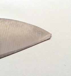包丁の欠けた先端の画像